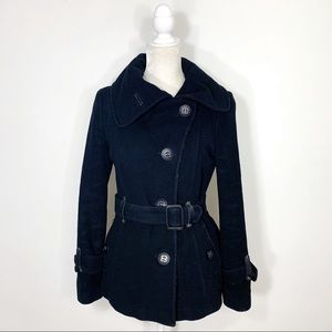 Mackage • black wool leather belt peacoat
